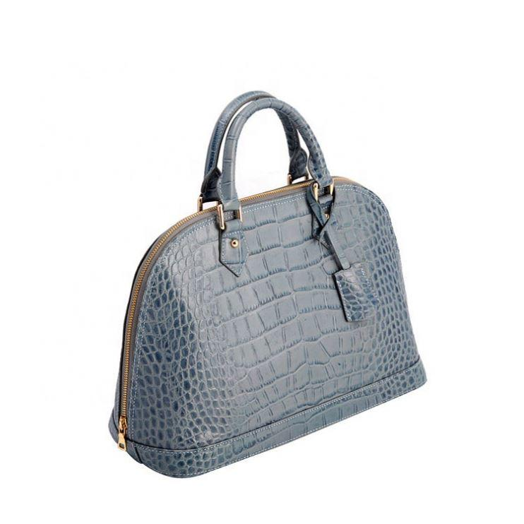 Italy Design Top Zip Crocodile Embossed Leather Handbags