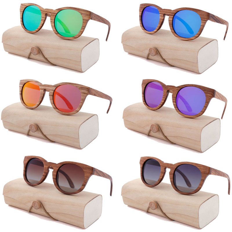 EUGENIA best quality customized lens color bamboo sunglasses with case