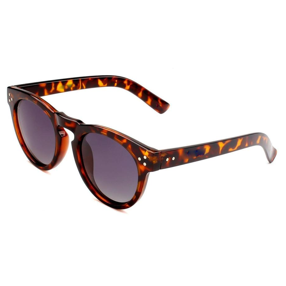 EUGENIA Custom Logo Brown Demi Tortoise Color Plastic Round Sunglasses