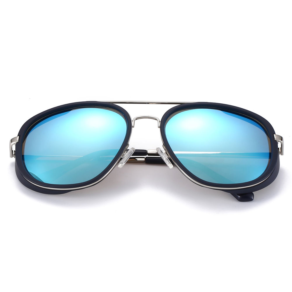 EUGENIA Gothic Steampunk Round for Men Women Mirrored Metal Sunglasses
