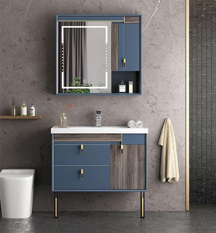 Modern design PVC bathroom storage furniture set floor standing vanity cabinet with countertop basin