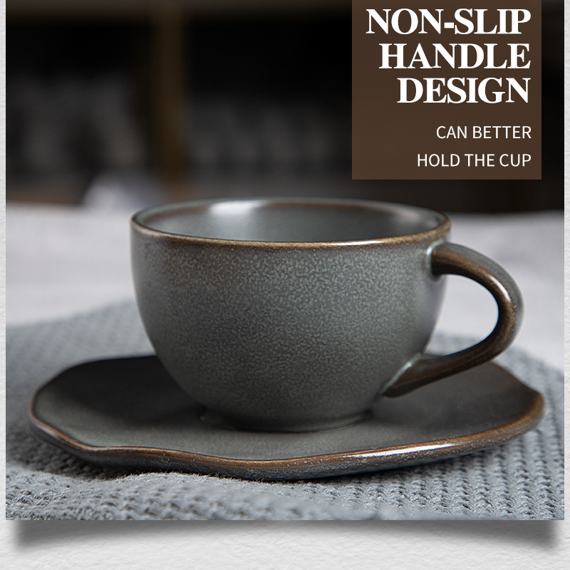 2020 New Trend Porcelain Coffee Cup And Saucer, Color Tableware Coffee Cup Hotel, Rustic Dinnerware Brown and Dark Grey Cups*