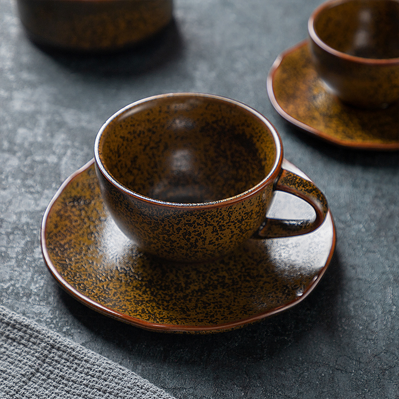 Manufacturer Direct Sale Coffee Cup With Saucer Ceramics, Special Rustic Porcelain Cups