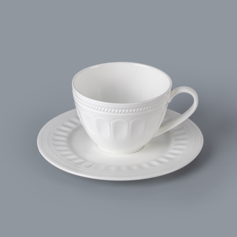 microwave and dishwasher safe durable coffee cup tableware white porcelain coffee cup with saucer for hotel cafe