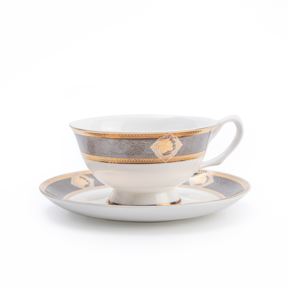 Dubai Bone China Embossed TablewareCoffee Tea Cup With Saucer, Restaurant Hotel Supplies Tea Cup And Saucer For Hotel*