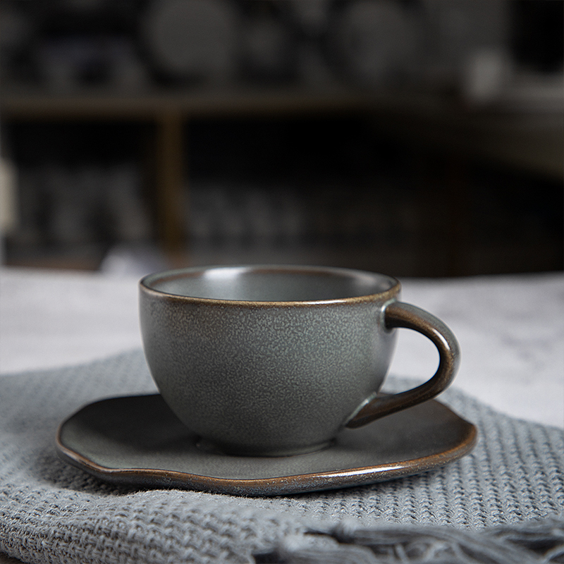 Direct Factory Supply 2020 Dubai Coffee Cup And Saucer, 8oz Hotel Restaurant Grey Ceramics Cup