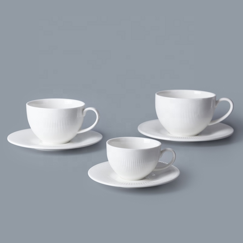 Most Popular Chinaware Porcelain White Coffee Cup And Saucer, Restaurant Hotel Supplies Three Sizes Coffee Cup With Plate&