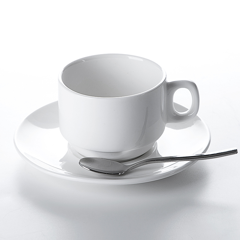 2020 Hot Sale Restaurant Cafe Bar Porcelain Ceramic Cup And Saucer,Coffee Cup White, Coffee Cups Porcelain Stack