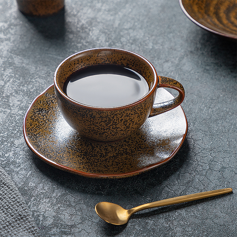 Restaurant Rustic 225ML Ceramic Cappuccino Coffee Cup, Porcelain Coffee Cup And Saucer, Ceramic Coffee Cup For Wholesale*