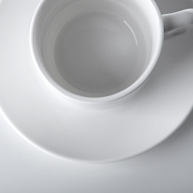 Restaurant Cafe Bar Porcelain Coffee Cups Stackable, Ceramic Cafe Cups Mugs Crockery, Ceramic Tea Cup And Saucer Set