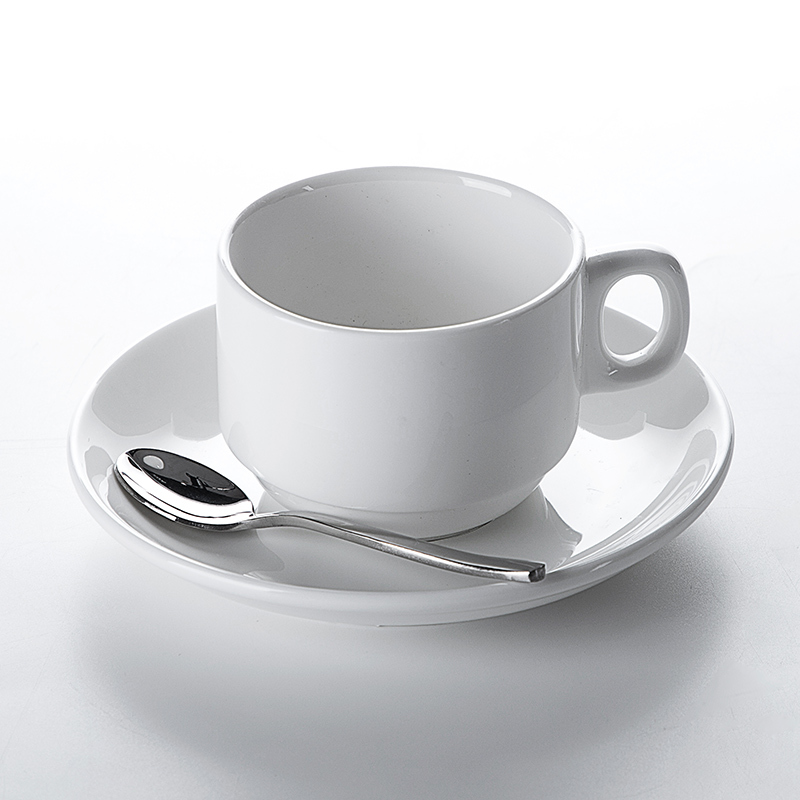 Hospitality Real Estate White Stackable Porcelain Coffee Cup, Coffee Cup Ceramic Porcelain,Cup Plate%