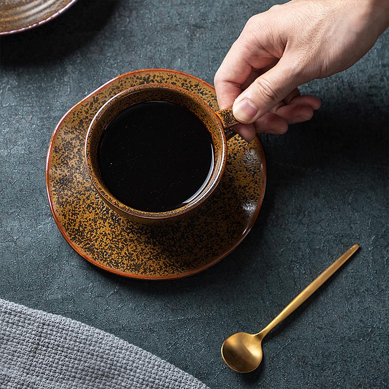 Hot Sale Rustic 8oz Cappuccino Ceramic Coffee Cup, Brown Grey Color Cafe Coffee Cups