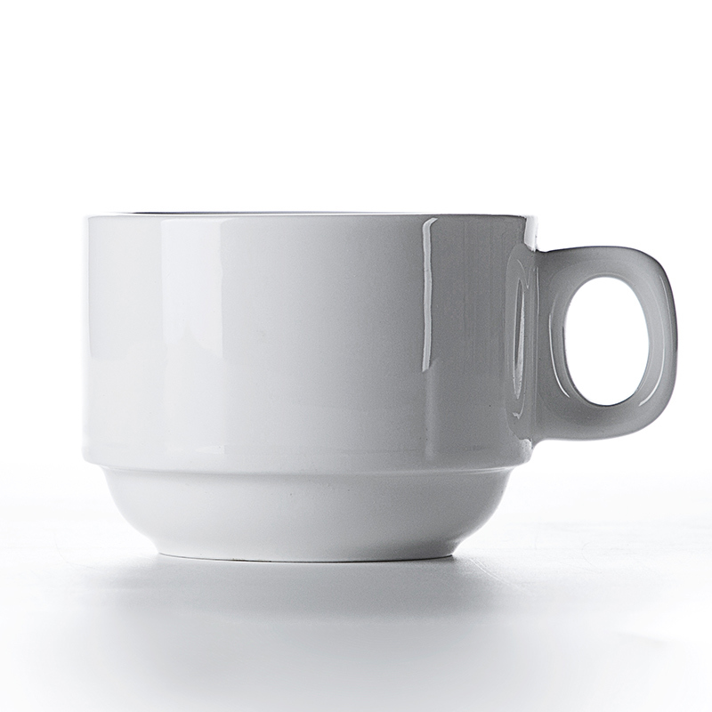 150-200ml Hot Sale Restaurant CeramicTea Cup And Saucer, Wholesale Cup With Plate, Cafe Bar White Espresso Cup