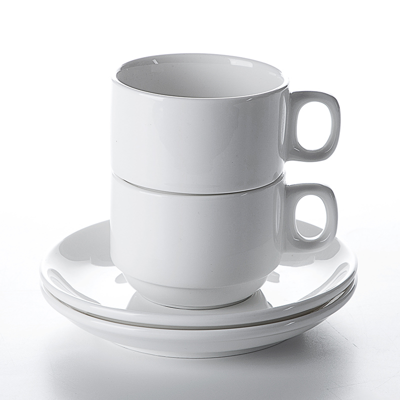 High Temperature Restaurant Cafe Bar Porcelain Coffee Cup Factory, Tea Cup Sets, White Cups And Saucer Ceramic