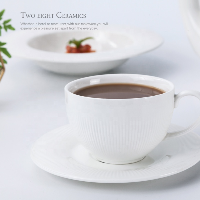 Special Design Hotel Ware 90ml Porcelain Espresso Cups With Saucer, Crockery Restaurant Coffee Cups For Cafe&