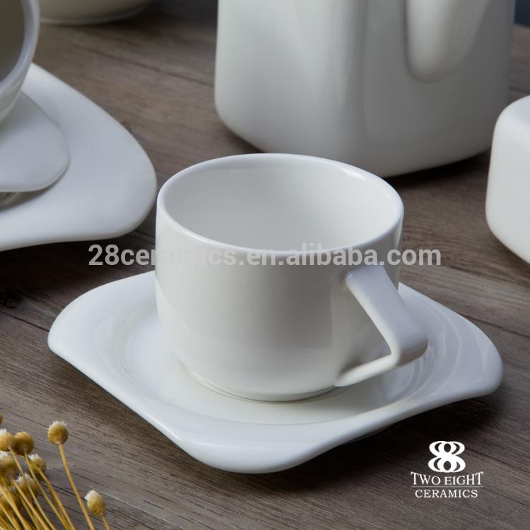 Fine porcelain tableware hotel western coffee set porcelain white elegant mugs porcelain white wholesale