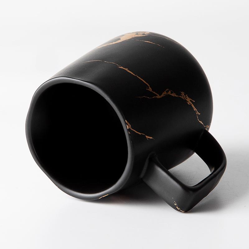 Coffee Shop Black 400ml Porcelain Mug Gold Design Cafe Restaurant Ceramic Mug