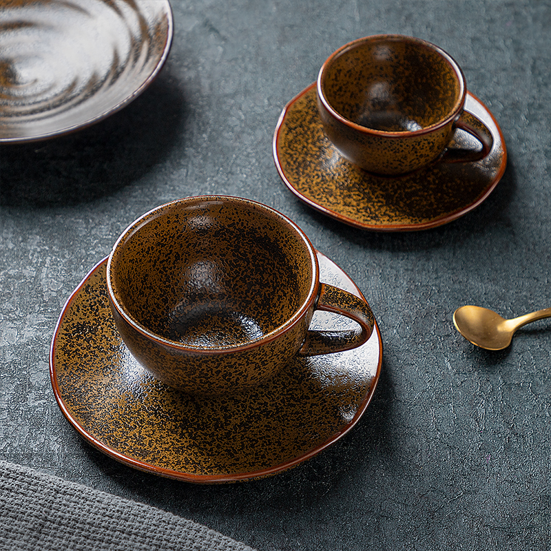 2020 New Porcelain Cup Tea Sets, 225ml / 125ml Restaurant Rustic Fancy Ceramic Cappuccino Coffee Cup