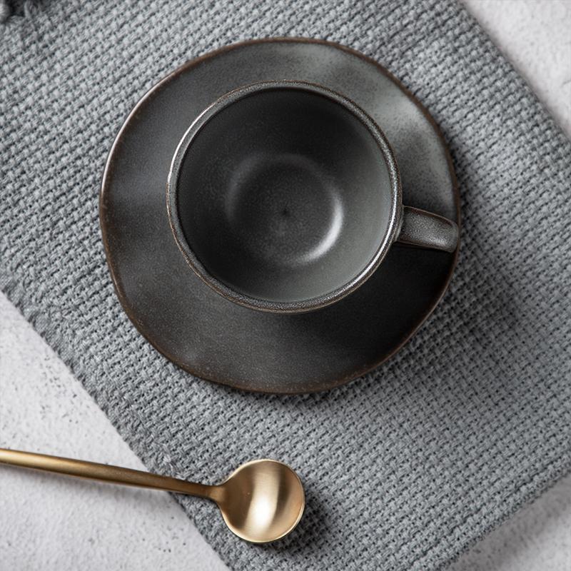 Rustic Western Restaurant Coffee Cup, 8oz Restaurant Cafe Grey Porcelain Coffee Cups