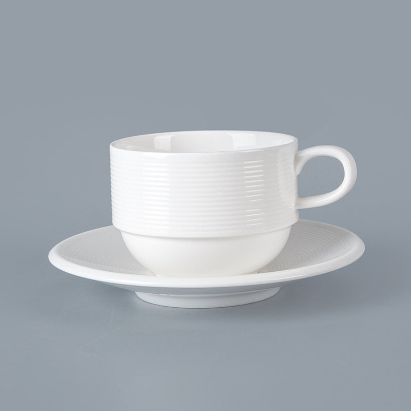 update & streamline stack coffee cup tableware porcelain stack coffee cup with handle for cafe hotel restaurant