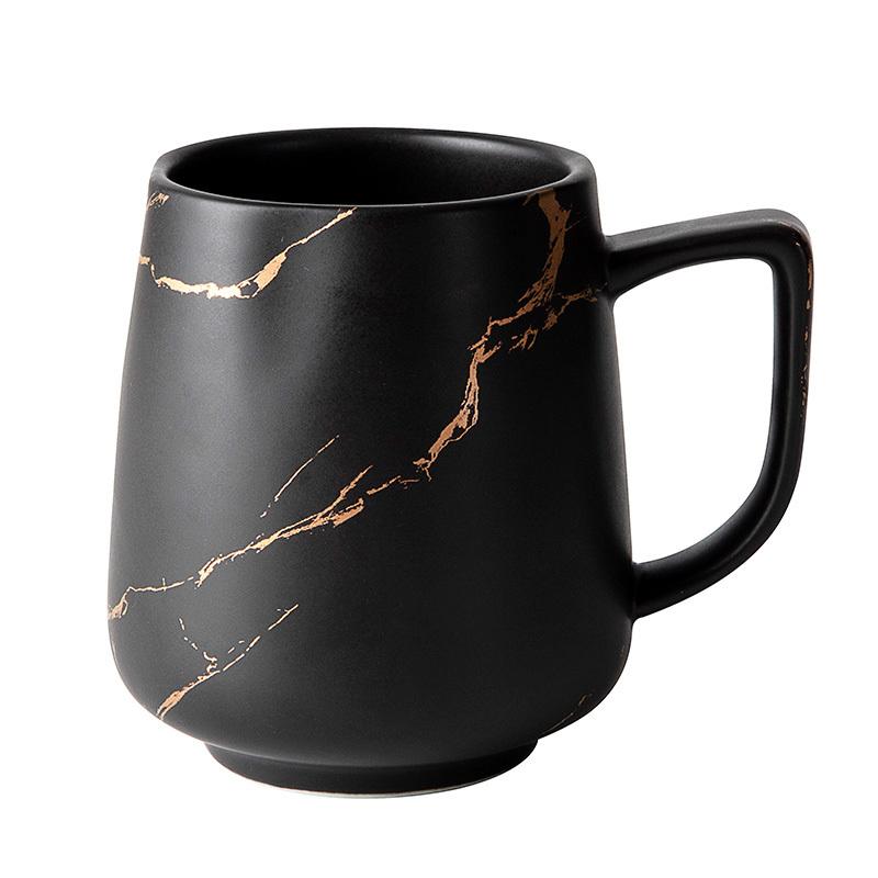 400ml 450ml Restaurant Hotel Cafe Use Black Gold Cafe Cup Mugs And Saucer, Black Coffee Mugs Custom Logo