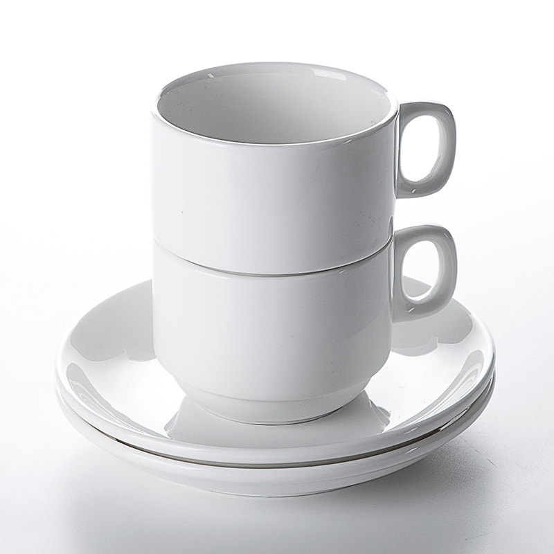 2019 Hot Sale Restaurant Cafe Bar Porcelain Ceramic White Coffee Cup With Saucer