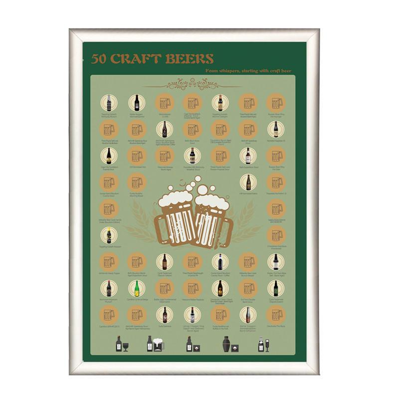 Factory Original Custom Logo Design 50 Beers Bucket List Scratch Off Poster Craft Beer for Amazon