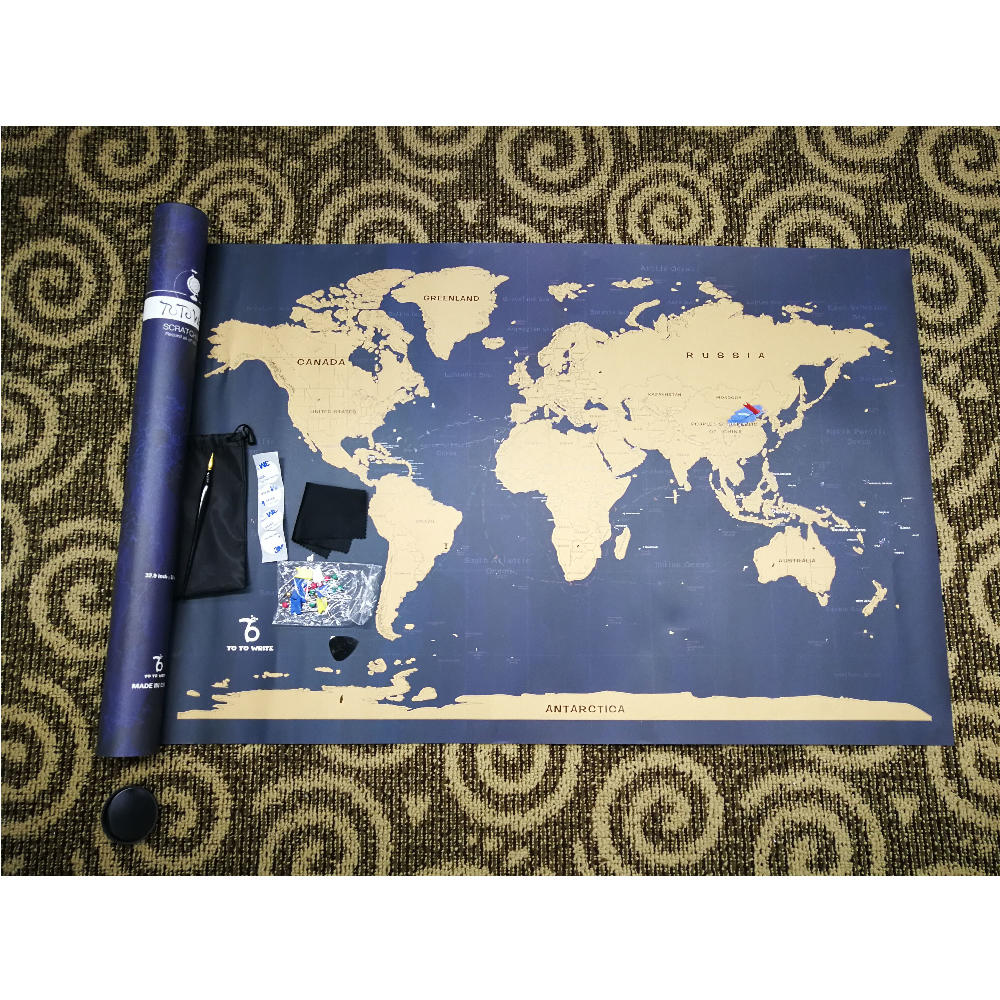 Giant Size 33 Inches Blue Color Scratch Off World Map Poster With Customized LOGO