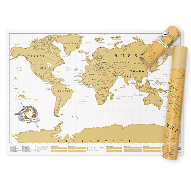 Custom Large Deluxe Custom Travel UK USA Gold Foil Coated Paper Scratch Off Map Scratch Off World Map Poster