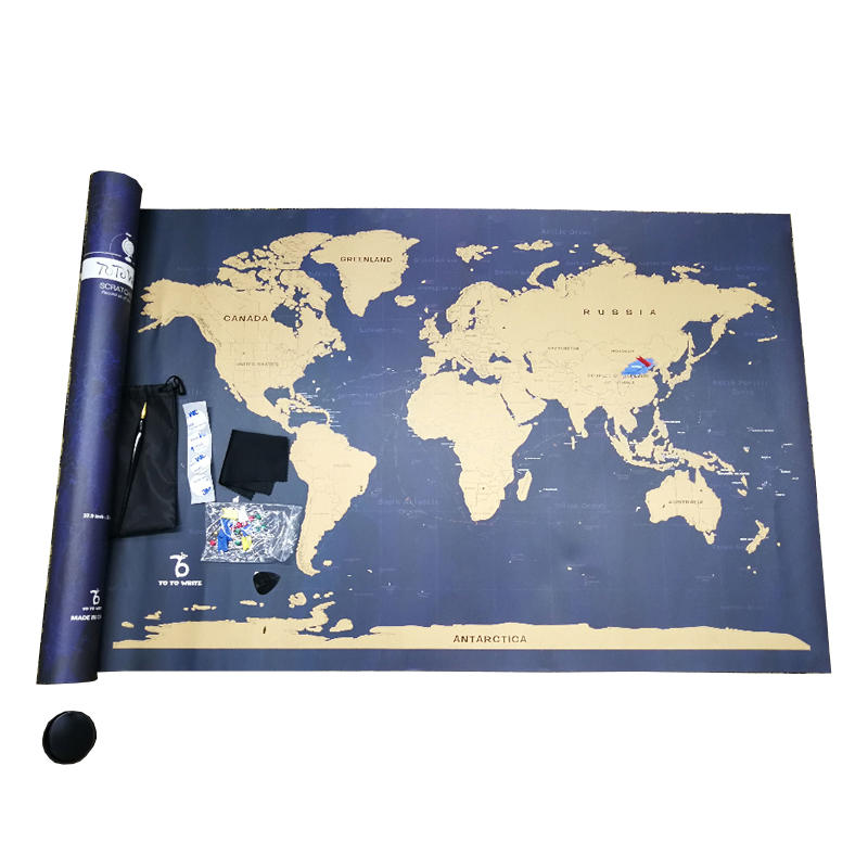 Amazon Hot Selling Deluxe Edition Scratch Off World Map Poster