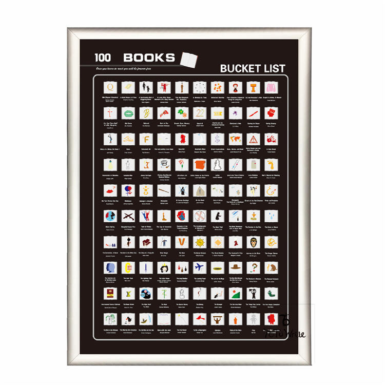 product-Black Scratch Off Poster 100 Book Bucket List With Frame-Dezheng-img-1