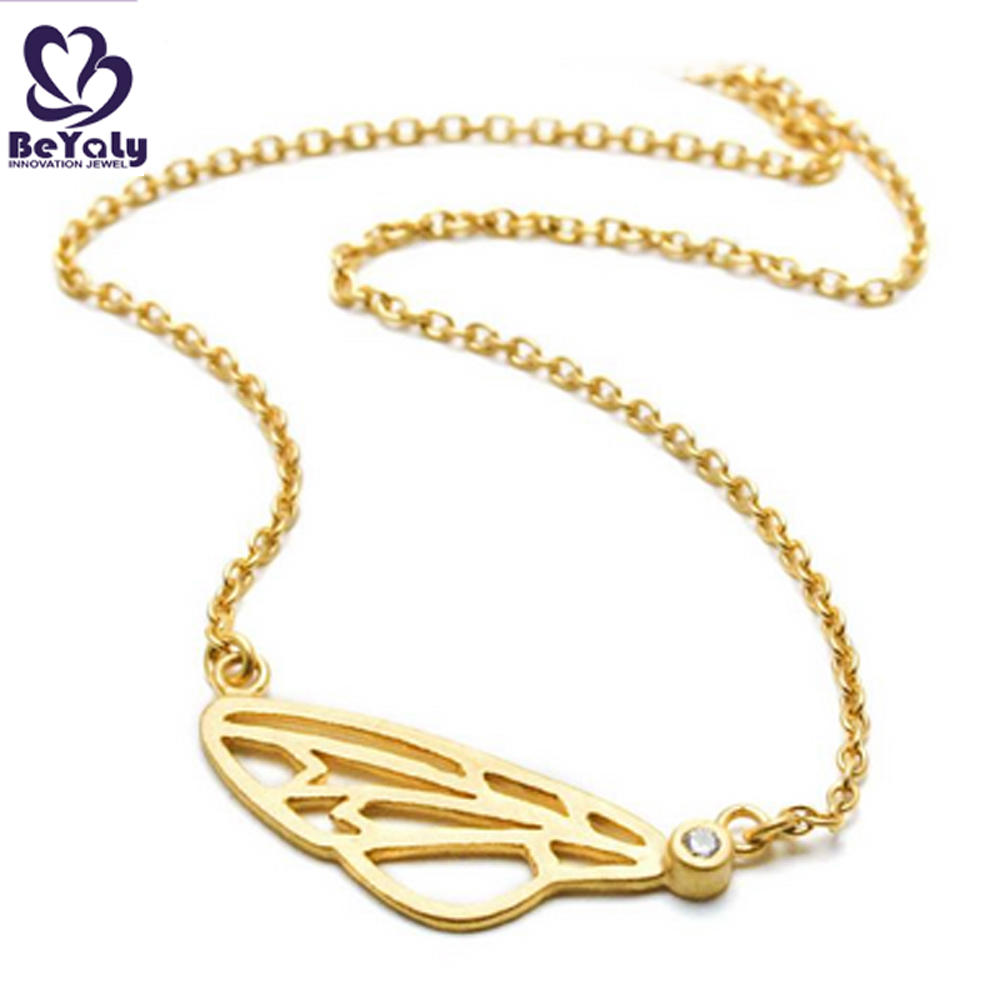 Beauty hollow yellow butterfly 22k gold necklace designs