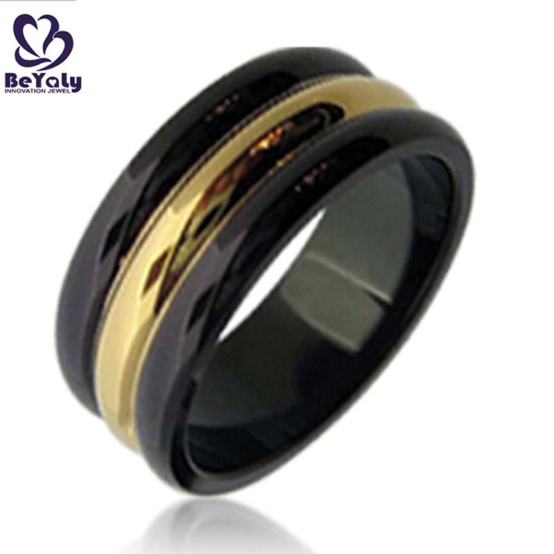 Black tone gold belt three bands ring for men