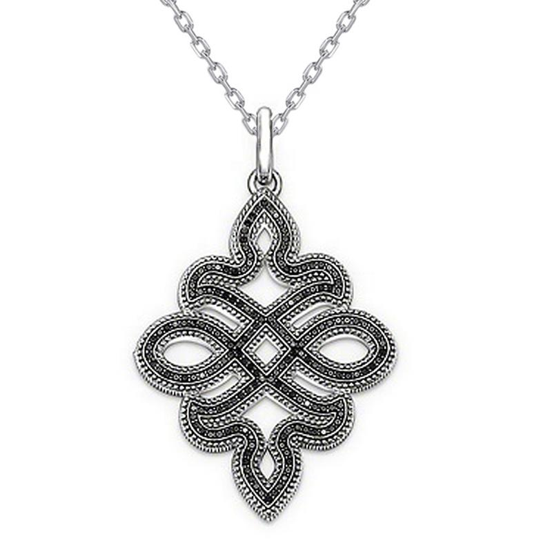 High End Celtic Knot Jewelry Black CZ White Gold Plating Necklace
