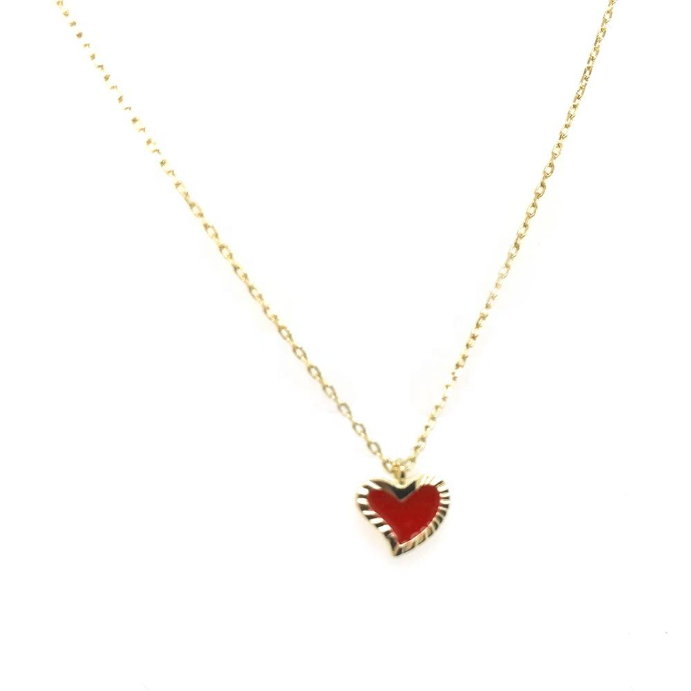 Exquisite Engraved Heart Design Silver Pure Gold 24K Necklace