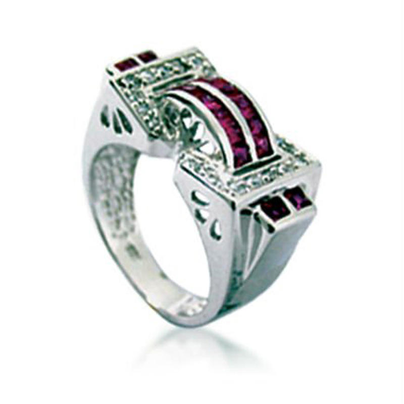 Luxurious Purple Bridge Silver Gold Lion Of Judah Ring