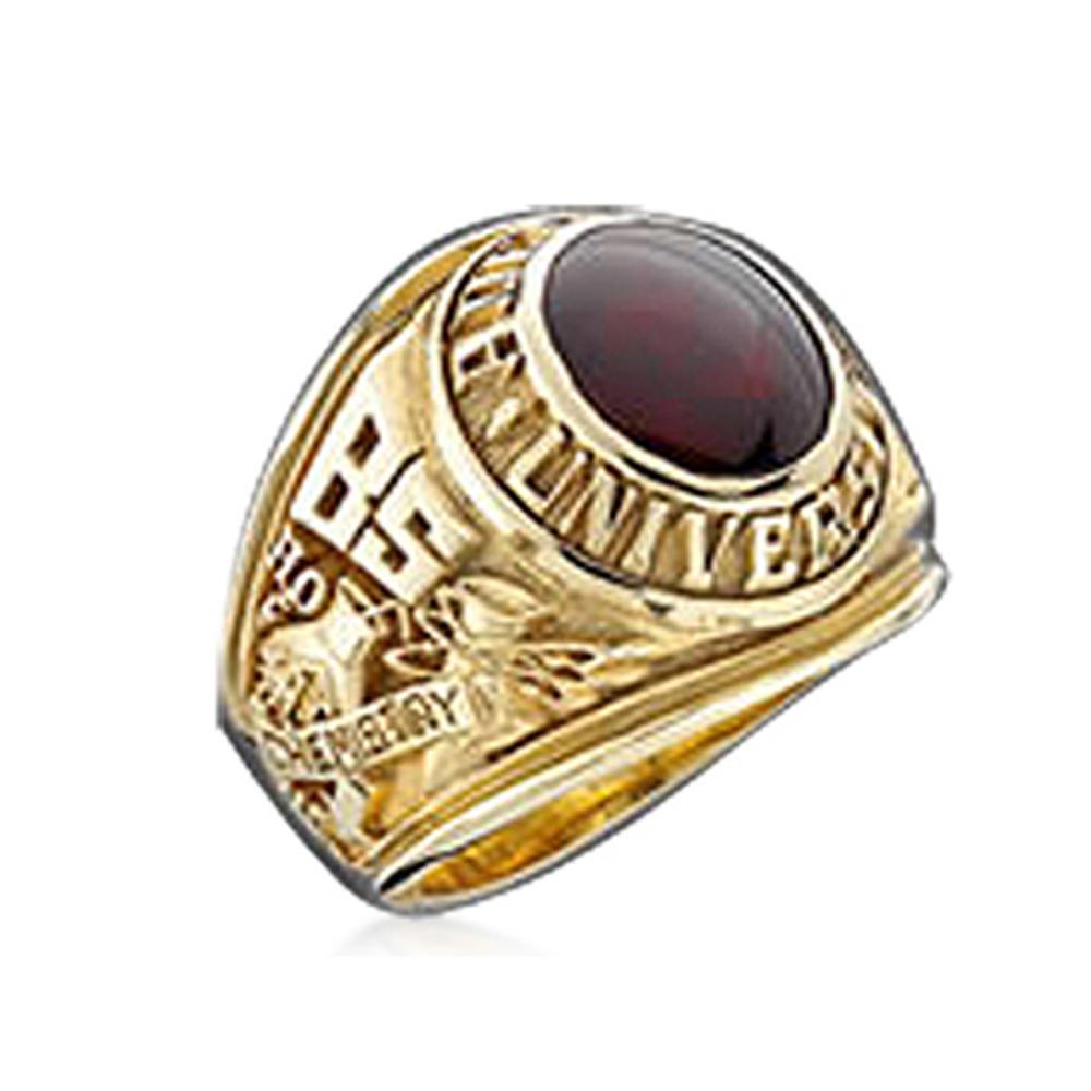 Fashion Student Personalized Gold Graduation Ring Custom Design