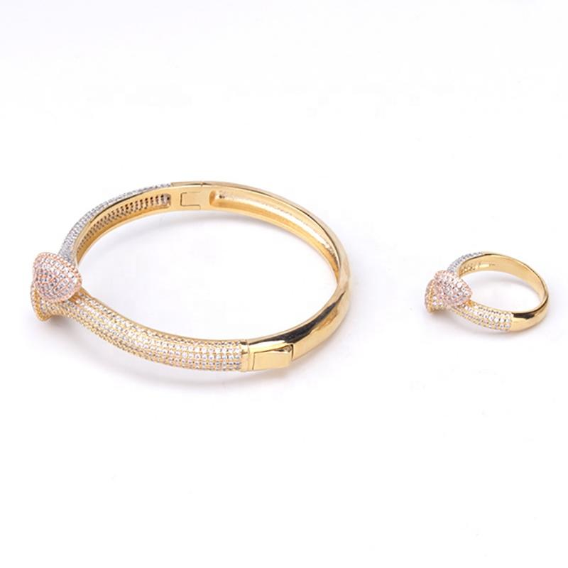 Adjustable Cz Waterdrop Design Gold Rutilated Quartz Bracelets