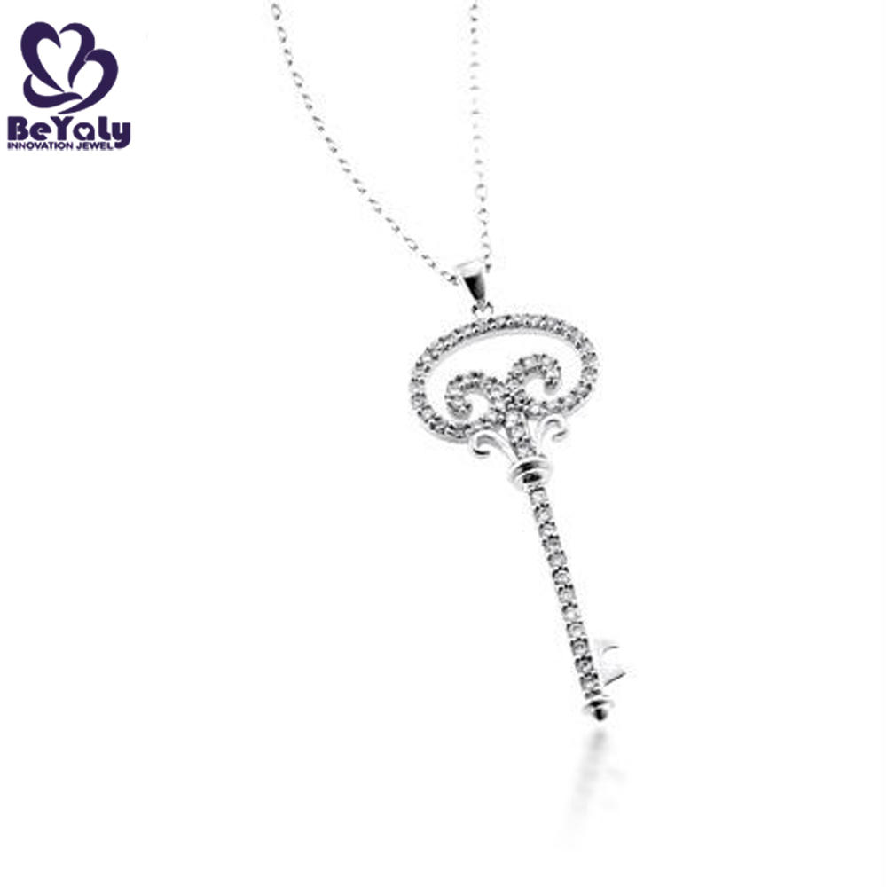 Dignified custom engraved girls' silver key lotus necklace