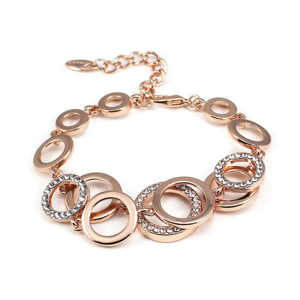 Fashion CZ Multi Circle Chain Design New Gold Bracelet Models