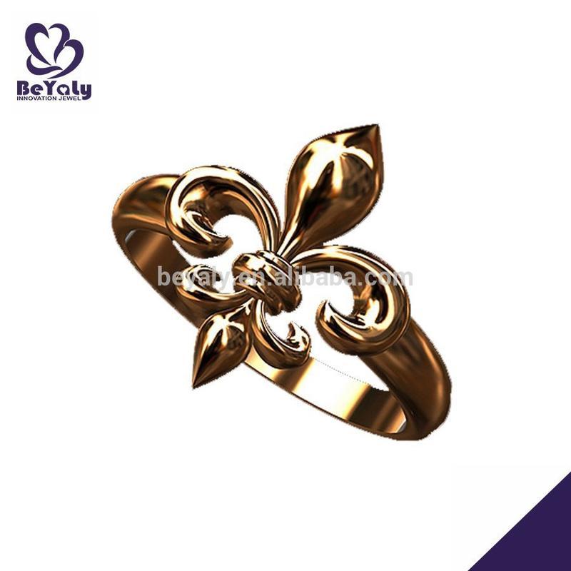 wholesale jewelry 14k gold or brass silver fleur de lis ring