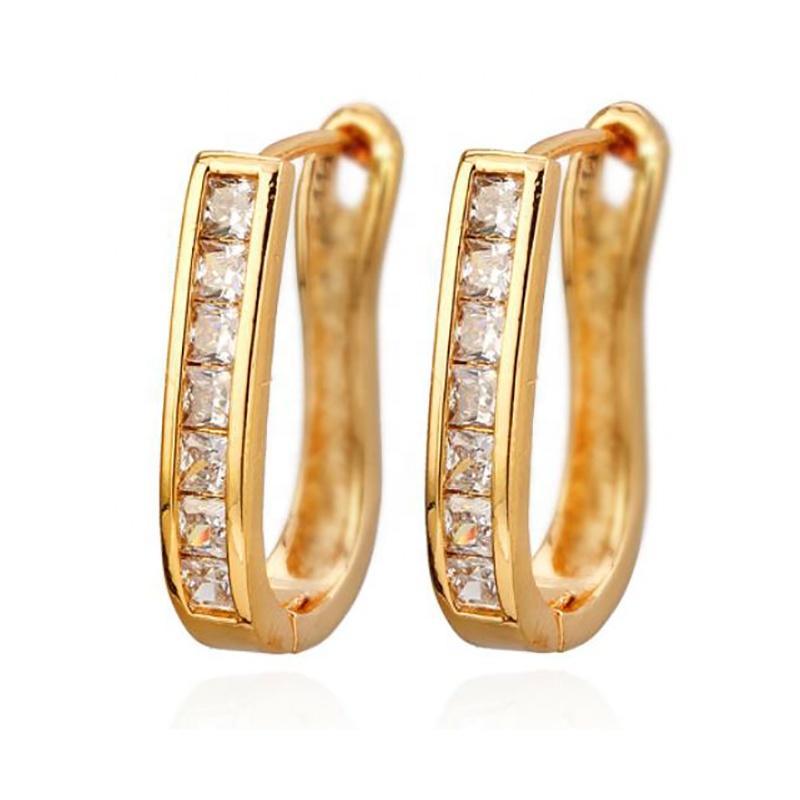 Simple Design Cz Inlaid 14 Karat Gold Hoop Earrings