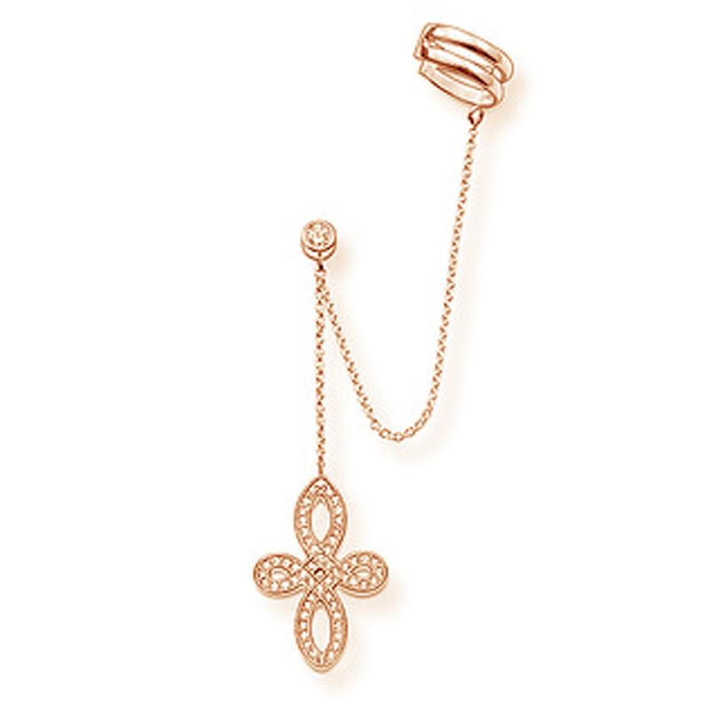 Fancy rose gold handcrafted cross design silver 24k earrings