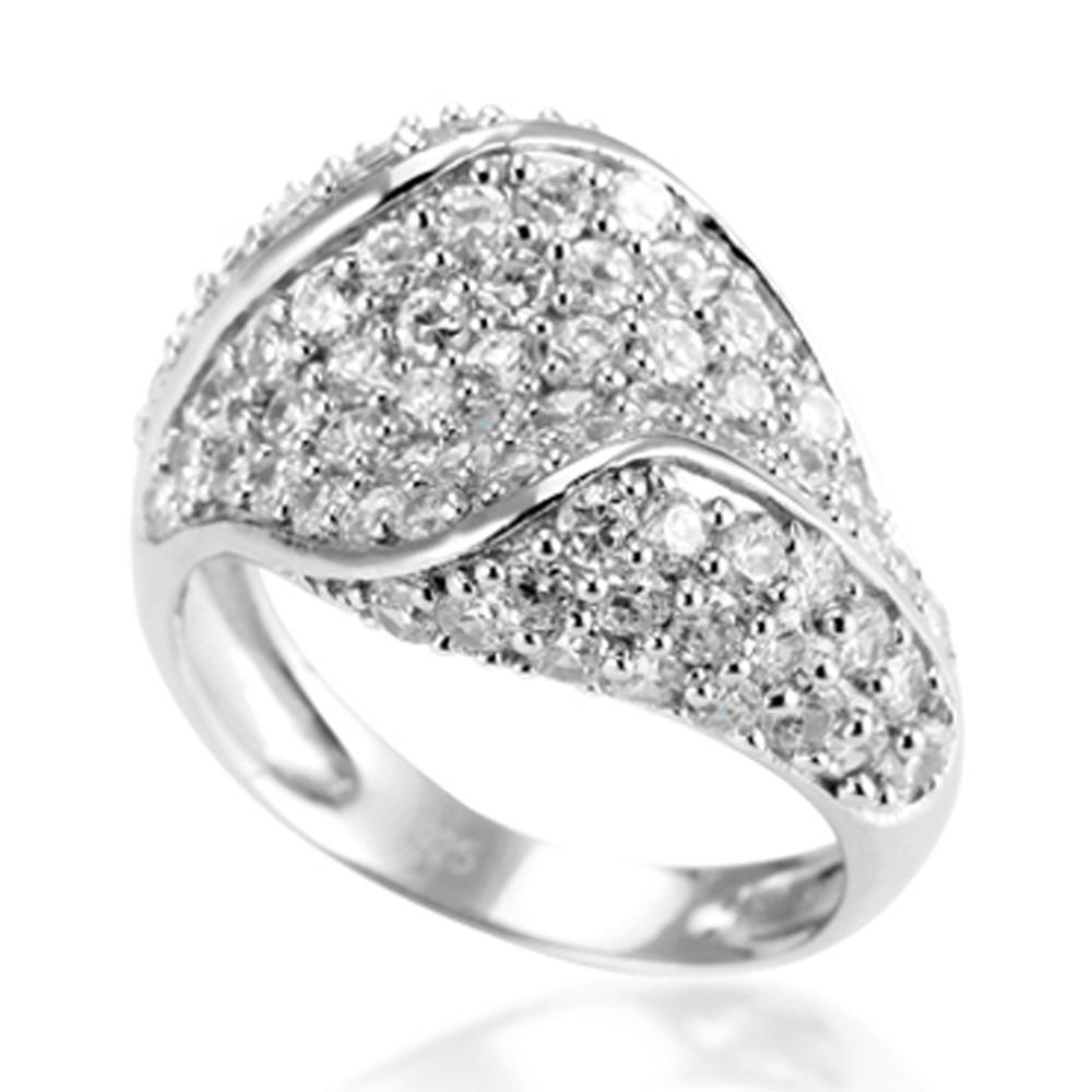 Dome shape cz pave set rhodium or gold or rose gold jewelry