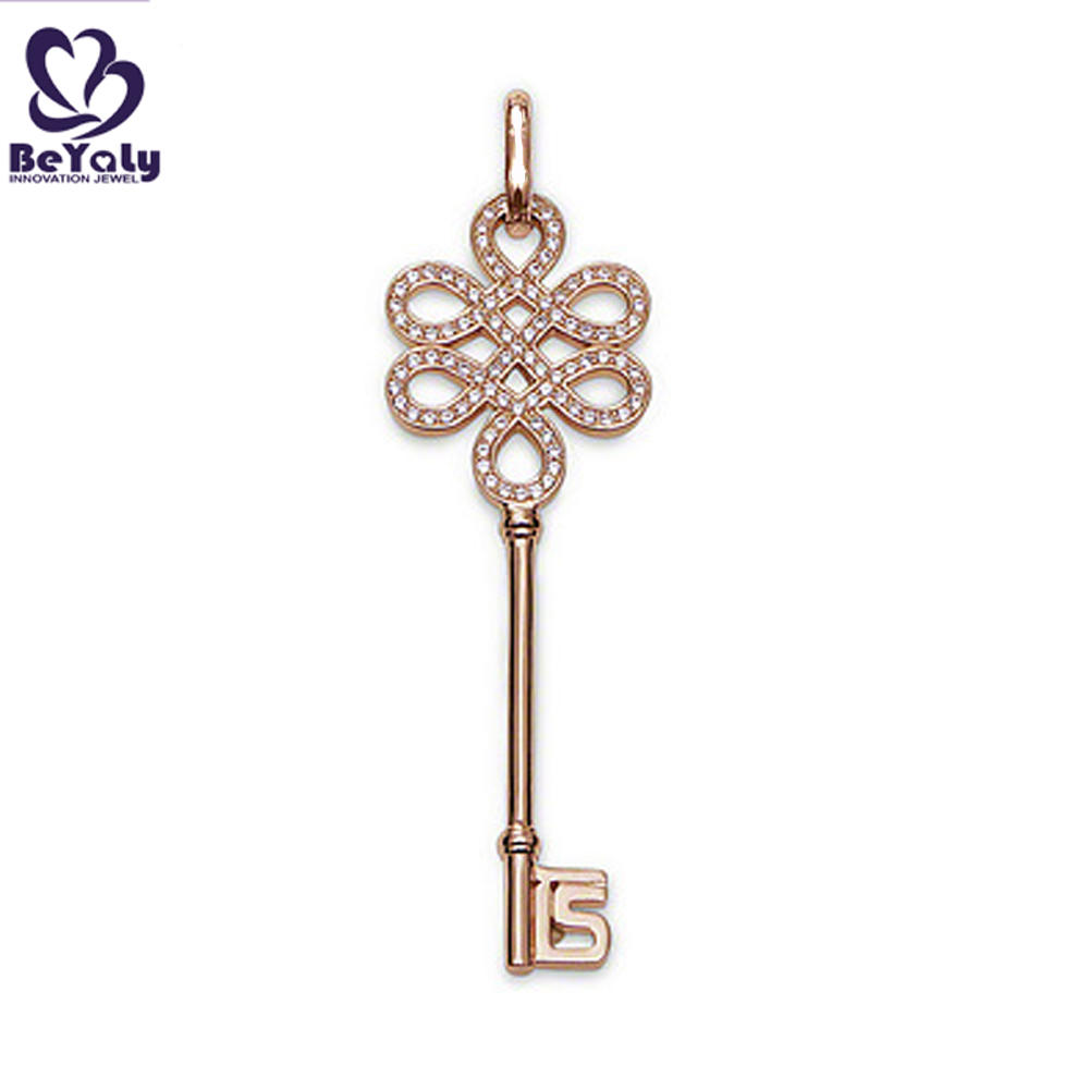 Delicate key shape design silver 18k gold plated necklace