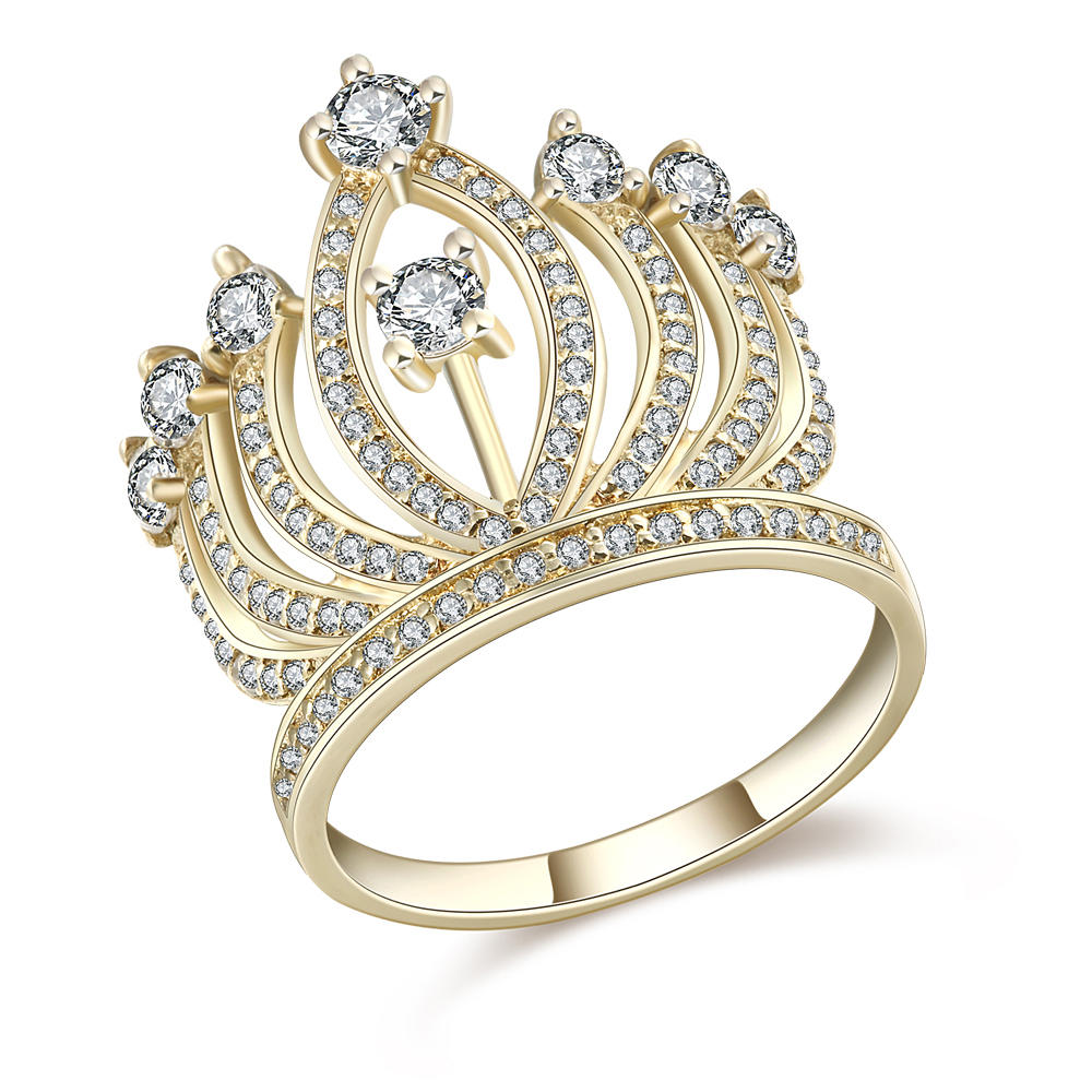 Wholesale custom aaa cz 18k gold plating crown ring