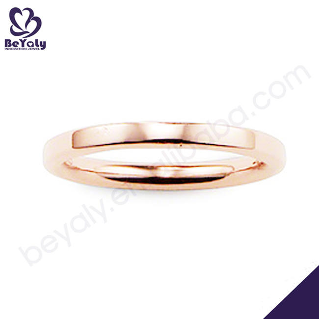 Simple design rose gold plating silver m stamp rings