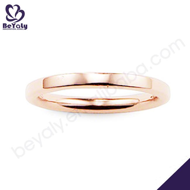 Simple design rose gold plating silver m stamp rings