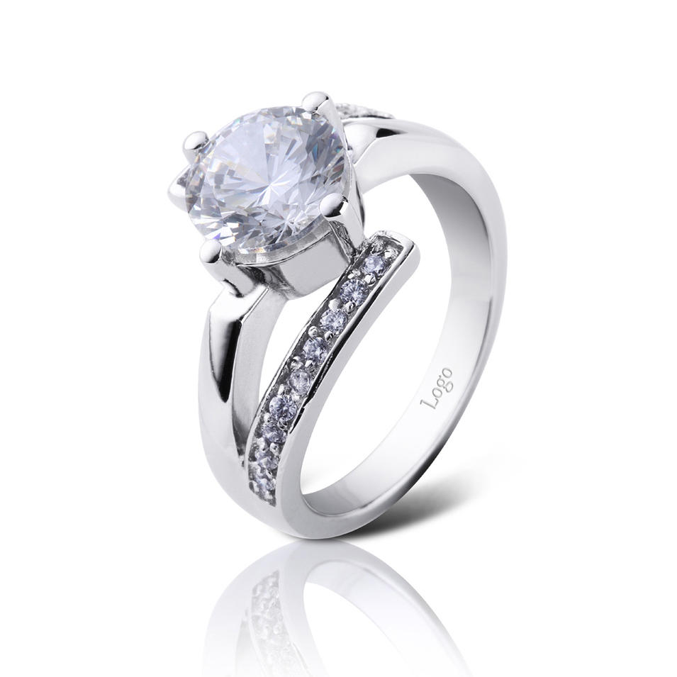 AAA cubic zircon girls white gold engagement rings