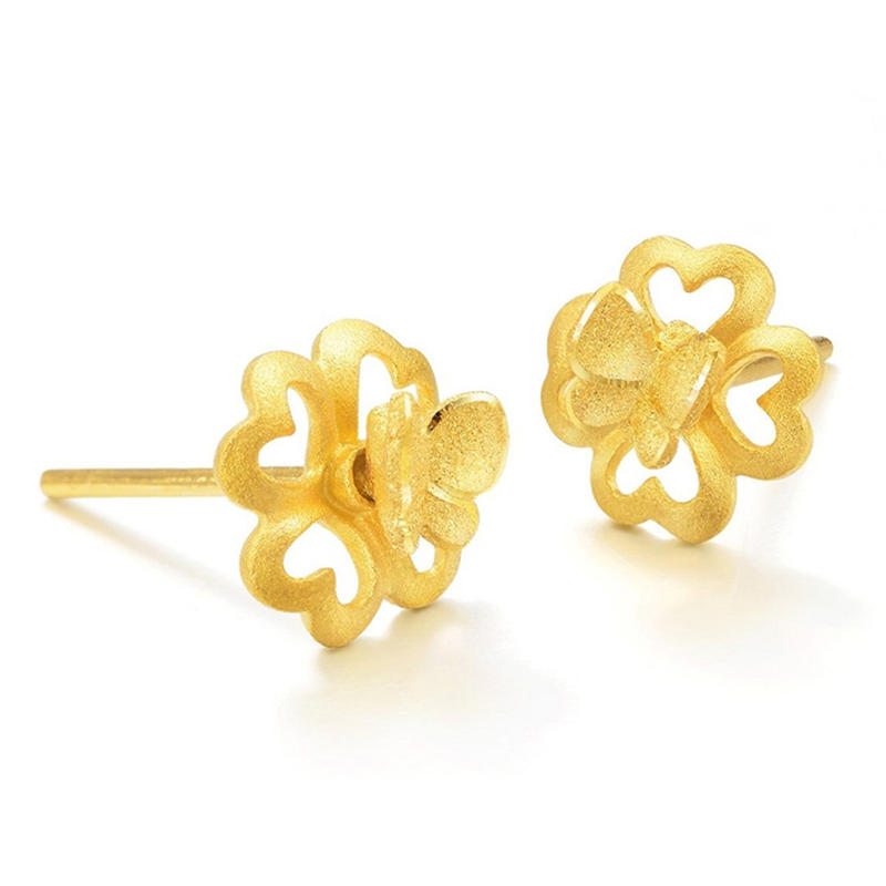 Clover Butterfly Design Beauty Ladies 24 Carat Gold Earrings